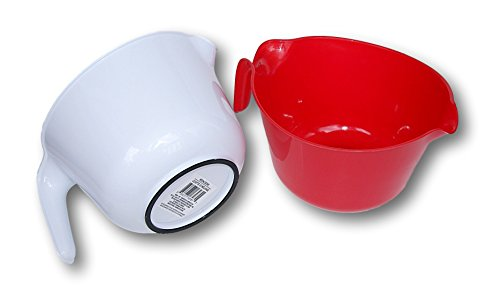 Favor Lightweight Plastic Pourable Mixing Bowls - Set of 2 - Red and White lowestprice