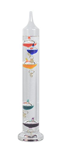 11 inch Galileo Thermometer with 5 Glass Balls and Gold Temperature Tags