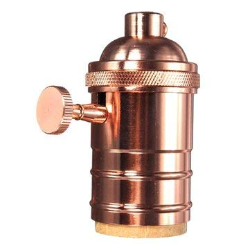 E27 Socket Vintage Pendant lamp holder With Knob 110-220V - Lighting Accessories Pendant Light Accessories - (Rose Gold) - 1 x US or EU Lamp Bulb Socket Adapter Converter