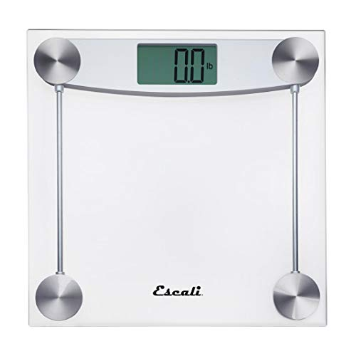 Escali Glass - Escali E184 Extra Large Clear Glass Bathroom Body Scale, Traditional Square Sleek Design, LCD Digital Display, 400lb Capacity, Clear