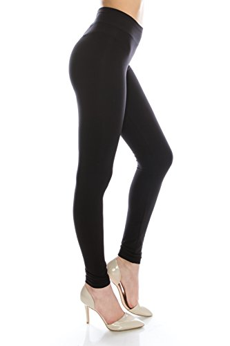Cotton Spandex Basic black leggings plus sized Black L]()