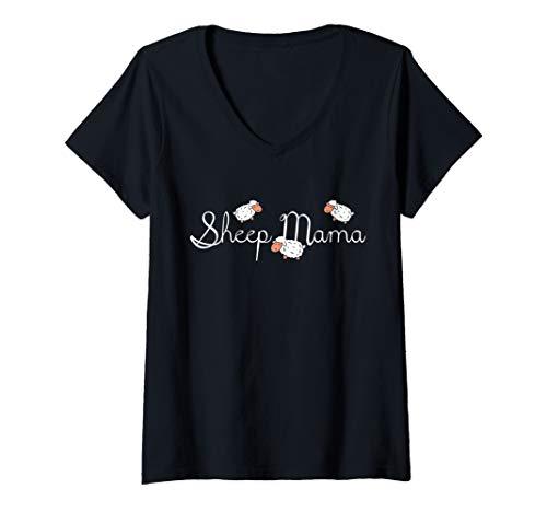- Womens Sheep Mama Mothers Day Gift Farmer Vintage V-Neck T-Shirt