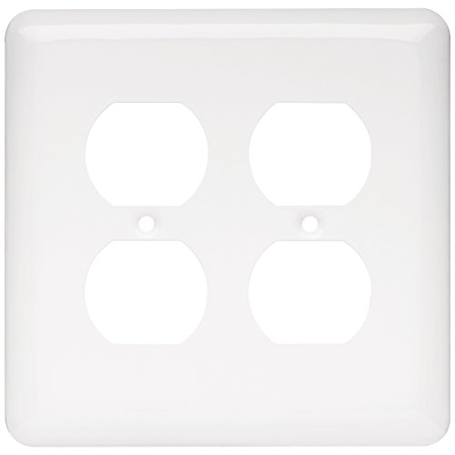 Franklin Brass W10250-W-C Stamped Round Double Duplex Wall Plate/Switch Plate/Cover, White - Outlet Wall Plate Cover