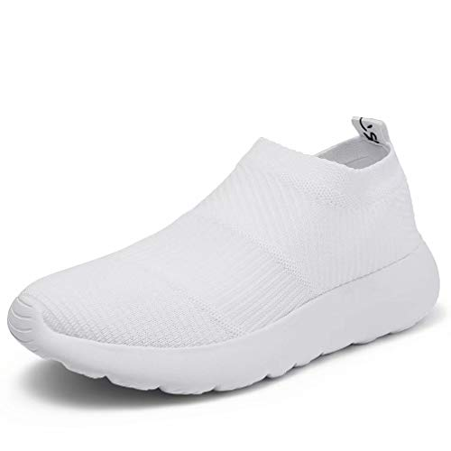 konhill Women's Athletic Walking Shoes - Comfortable Casual Work Gym Slip On Sneakers 6.5 US White, 37