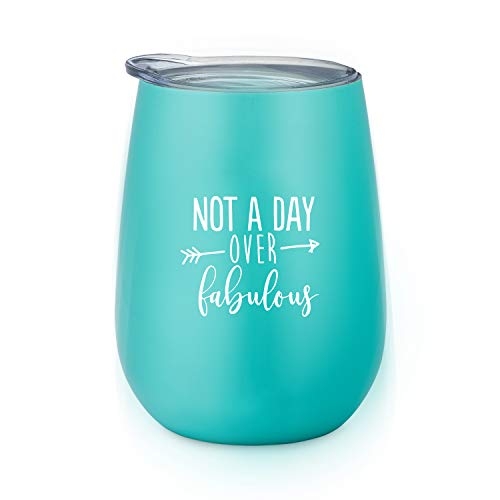 Not A Day Over Fabulous | Birthday Wine Glass | 10 oz Stainless Steel Stemless Wine Tumbler with Lid - Perfect Birthday Gift for Her by SassyCups