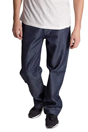 KAYDEN.K Men's Loose Fit Unwashed 5 Pocket Raw Denim Contrast Stitch Jean Pant (38W/32L, ()