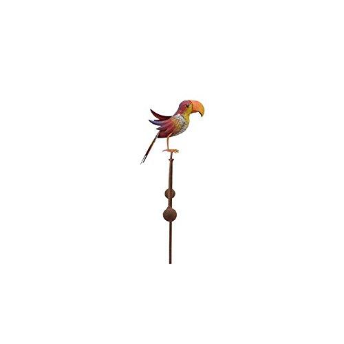 L' héritier del Tempo Tutore Asta per piante motivo pappagallo o mobile da giardino girevole a piantare in ferro anticato multicolore 11,5 x 35,5 x 113 cm