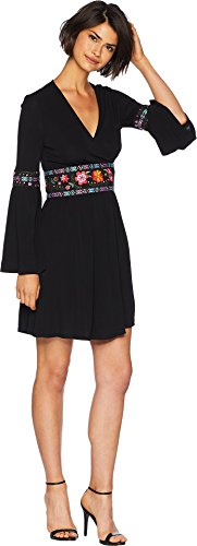 Juicy Couture Women's Knit Matte Jersey Embroidered Crossover Dress Pitch Black 14
