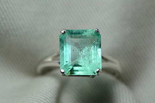 - Certified 3.30 Carat Emerald Ring, Colombian Emerald Solitaire, Sterling Silver Genuine Real Natural Emerald Cut May Birthstone Jewelry er14