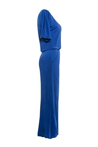 Donna Casual Obliquo Vestito Con Abito Donne Maxi Giorno Estivi Abiti Vintage Camicia Moda Da Blu Allentato Vestiti Spiaggia Luce Vestitini Lunghi Spalla Eleganti Spacco zArqzOw