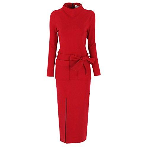 GAOLIM Las Mujeres De Negocios del Cinturón De Muslo De Bolsillo Engrosada Vestido De Gran Tamaño Abierto C675,10 Busto 92-98, Rojo