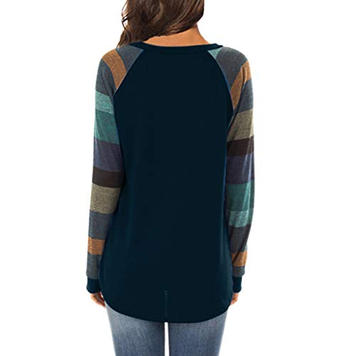 nbsp; Occasionnels Chemisier Sweat Marine Patchwork shirt Femme Sweatshirt Streetwear T Hauts Longues Lâche Pullover Chemise nbsp;pull Rayures Manches Cebbay Robe U7ZYqwFw