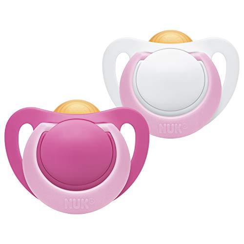 Nuk Genius latex fopspeen, kaakvriendelijke vorm, BPA-vrij, 0-6 maanden, 2 stuks, meisje, meerkleurig, 32 g