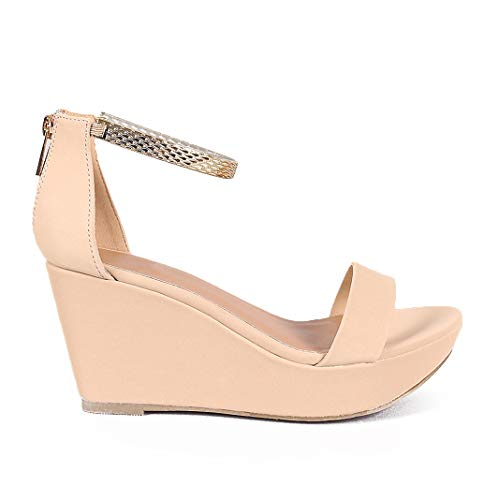 1f7674d9413 BAMBOO Women s Sexy Gold Metal Ankle Cuff Platforms Fashion Wedges (8