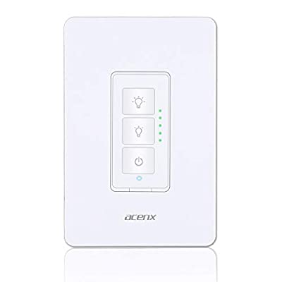Smart Dimmer Switch, Wifi Light Dimmer Switch Compatible with Alexa and Google Assistant, Switch Dim Lighting from Anywhere No Hub Required, Easy In-Wall Installation (Single-Pole Only)