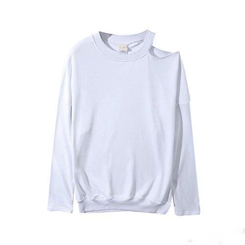 Couples White Sweater Xuanku Coat Female shoulders Coat Neutral Dress broken Sleeve Lazy Dress Giant Zwq0zrPZ