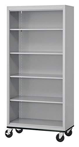 - 36' x 18' x 78' Elite Series Mobile Bookcase with 5 Shelves, Dove Gray