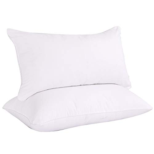 VODOF 2 Pack Standard Bed Pillows -White Hotel Style 20 x 26 Inches - Soft Sand Washed Cover, Sleeping Pillow ...