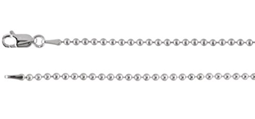 2mm 14k White Gold Bead Chain, 24'' by Jewelry Store