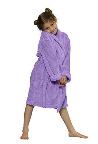 Kids Robe, Microfleece Soft Plush Bathrobe (Medium, Lavender) -