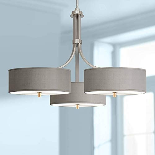 Brushed Nickel Large Pendant Chandelier 36 Wide Modern Gray Faux Silk Triple Shades for Dining Room House Foyer Kitchen Island Entryway Bedroom Living Room – Possini Euro Design