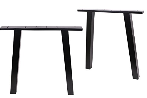 ECLV N-710-K Dining Table Legs, Vintage Steel Table Legs, Office Table Legs, Computer Desk Legs, Industrial Kitchen Table Legs, 28'' L, Black, Set of 2 by ECLV