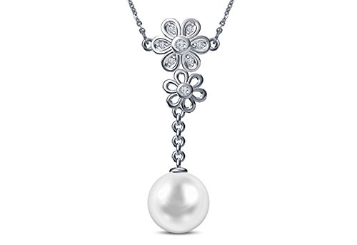 9 mm Akoya Cultured Pearl and 0.12 carat total weight diamond accent Necklace in 14KT White - Mastoloni Necklace Cultured Pearl