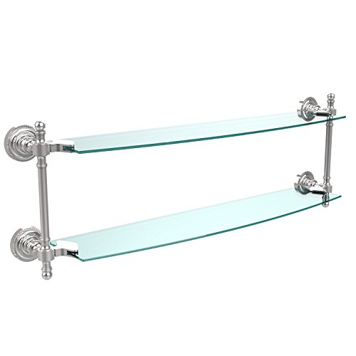 Allied Brass RD-34/24-PC Retro Dot Collection 24 Inch Two Tiered Glass Shelf, Polished Chrome