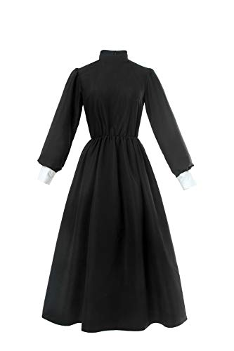 ROLECOS Pioneer Women Costume Floral Prairie Dress Deluxe Colonial Dress Laura Ingalls Costume Black XXL -