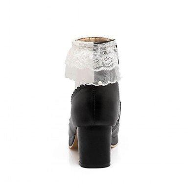 Heart&M Mujer Botas Confort Innovador Botas hasta el Tobillo Primavera Invierno Semicuero Casual Pajarita Tacón Robusto Negro Morado Rosa 5 - 7 black