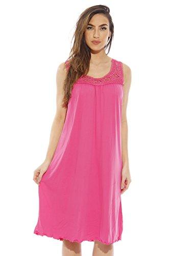 Dreamcrest Silky Soft Nightgown Crochet Trim Sleep Dress 1541B-Pink-M