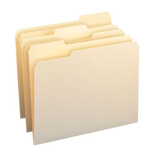 Side Tab Lateral Files - Smead File Folder, 1/3-Cut Tab, Assorted Position, Letter Size, Manila, 200 Per Box (10382)
