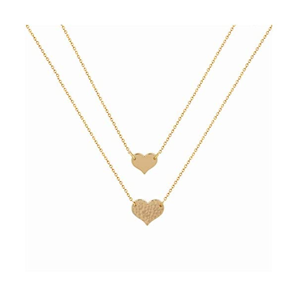 Mevecco Layered Heart Necklace Pendant Handmade 18k Gold Plated Dainty Gold Choker Arrow Bar Layering Long Necklace for Women…