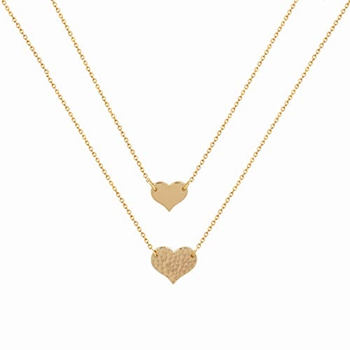 Mevecco Layered Heart Pendant Necklace,14k Gold Plated Love 2 Heart Love Tiny Dainty Layering Pendants Necklaces Jewelry Gift for Women Girls