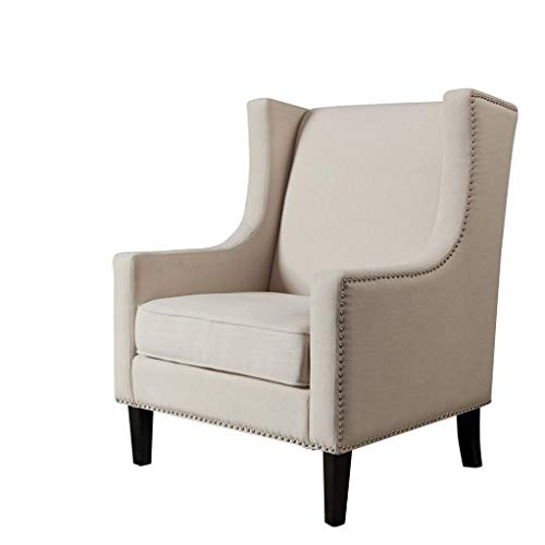Single Sofa Chair, Furniture Modern Mid Century Style Sofa Accent Chair - Solid Color Vintage Tall Wingback Arm Chair w/Padded Seat 29.3 × 28.7 × 39.6 Inch (Beige)