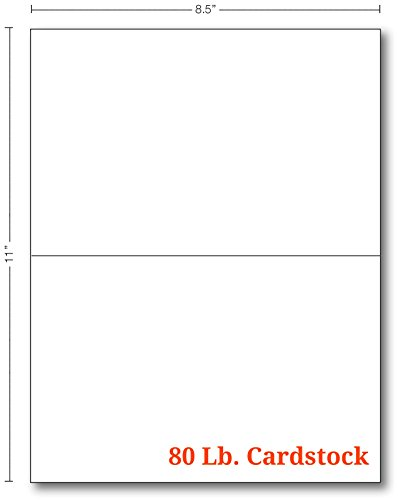 White Half Fold Greeting Cards - 100 Cards - 5.5 X 8.5 Inches When Folded -  Superfine Printing - Folded Fold