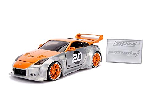2003 Nissan 350Z Hardtop with Diecast Mosaic Tile, Silver with Orange - Jada 31071 - 1/24 Scale Diecast Model Toy Car