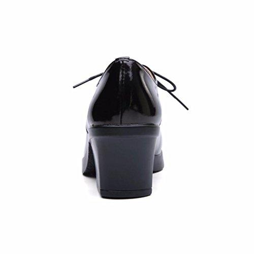 Lacets Chaussures Haut Noir à Bottines Cuir en Moonwalker à Brillant Femme Talon Ifq1w4wZx