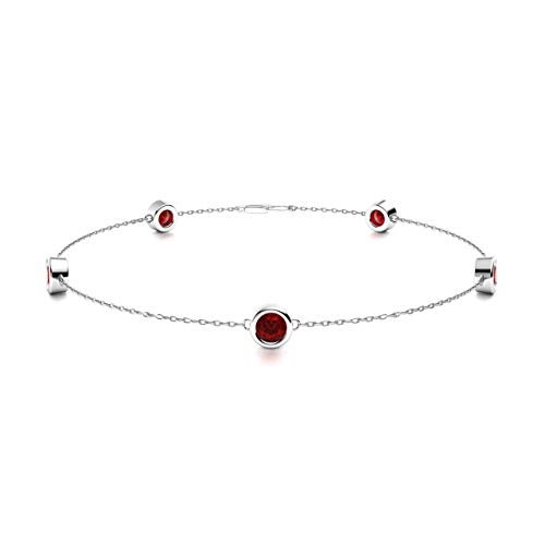 Diamondere Natural and Certified Garnet Chain Bracelet in 14K White Gold | 0.39 Carat Bracelet for Women, Length - 7.25 inch