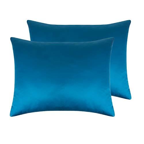NTBAYSatinPillowcasesSetof2,SilkySoftandLuxury,ZipperedClosure(Royal Blue, Standard) ()