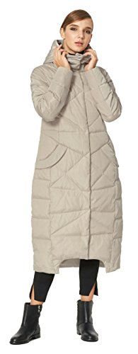 Orolay Women's Puffer Down Coat Winter Maxi Jacket with Hood Beige XS by Orolay (Image #5)