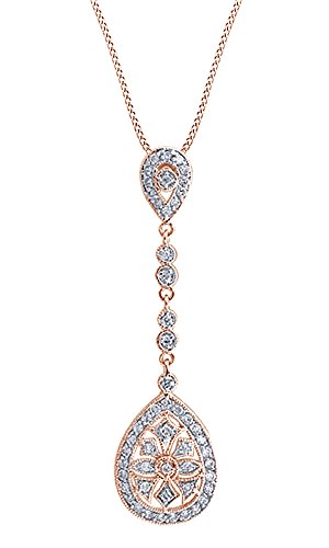 14k White Gold Drop Pendant - White Cubic Zirconia Art Deco Long Drop Fashion Pendant Necklace in 14k Rose Gold Over Sterling Silver