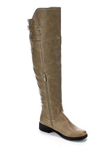 Buckle Dress Black Boots Taupe in Riding Leather Dual Tan Women's Taupe Faux IgSEw