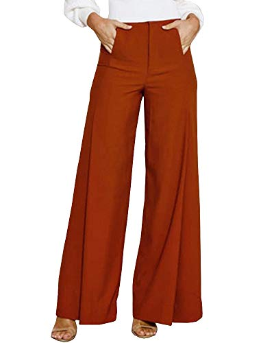 Geckatte Women Casual High Waist Loose Stretch Wide Leg Long Pants Palazzo Trousers Red Brick (Best Wide Leg Trousers 2019)
