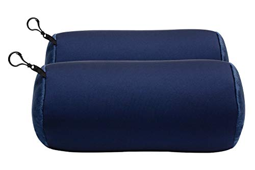 World's Best 2pcs Microbead Bolster Tube Pillows, Smooth Cool Touch Fabric, Neck or Back Support Pillows, Hypoallergenic, Navy (Squishee Clip)