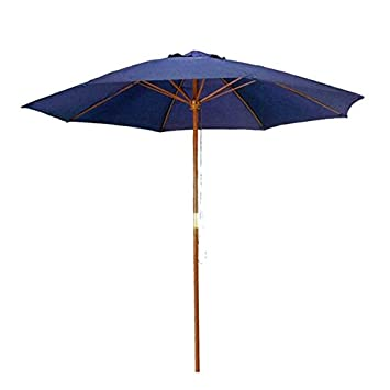 9 Ft Navy Blue Patio Umbrella   Outdoor Wood Market Umbrella Product SKU:  UB58022