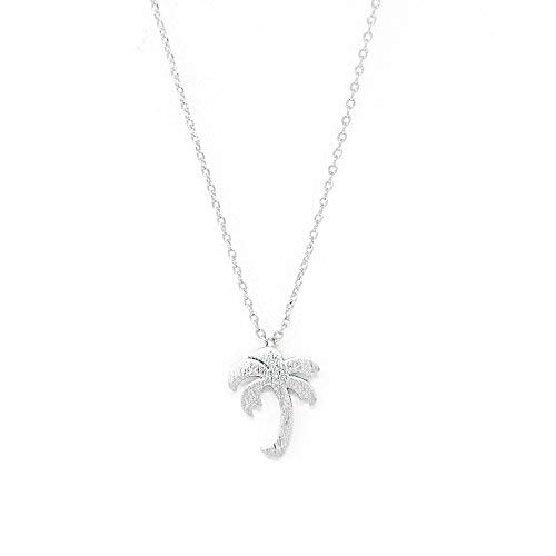 (Me Plus Palm Tree Small Charm Necklace Tiny Cute Pendant with Adjustable Clasp (Silver))