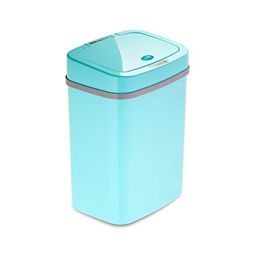 Ninestars, Teal Blue DZT-12-5TB Bedroom or Bathroom Automatic Touchless Infrared Motion Sensor Trash Can, 3 Gal 12 L…