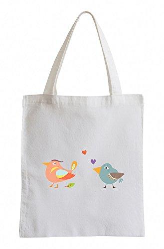 Uccelli Raxxpurl in amore Divertimento sacchetto di iuta