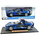 (Maisto Year 2015 Special Edition Series 1:18 Scale Die Cast Car Set - Blue Color 2005 State Police Cruiser CHEVROLET CORVETTE COUPE with Display Base (Car Dimension: 9